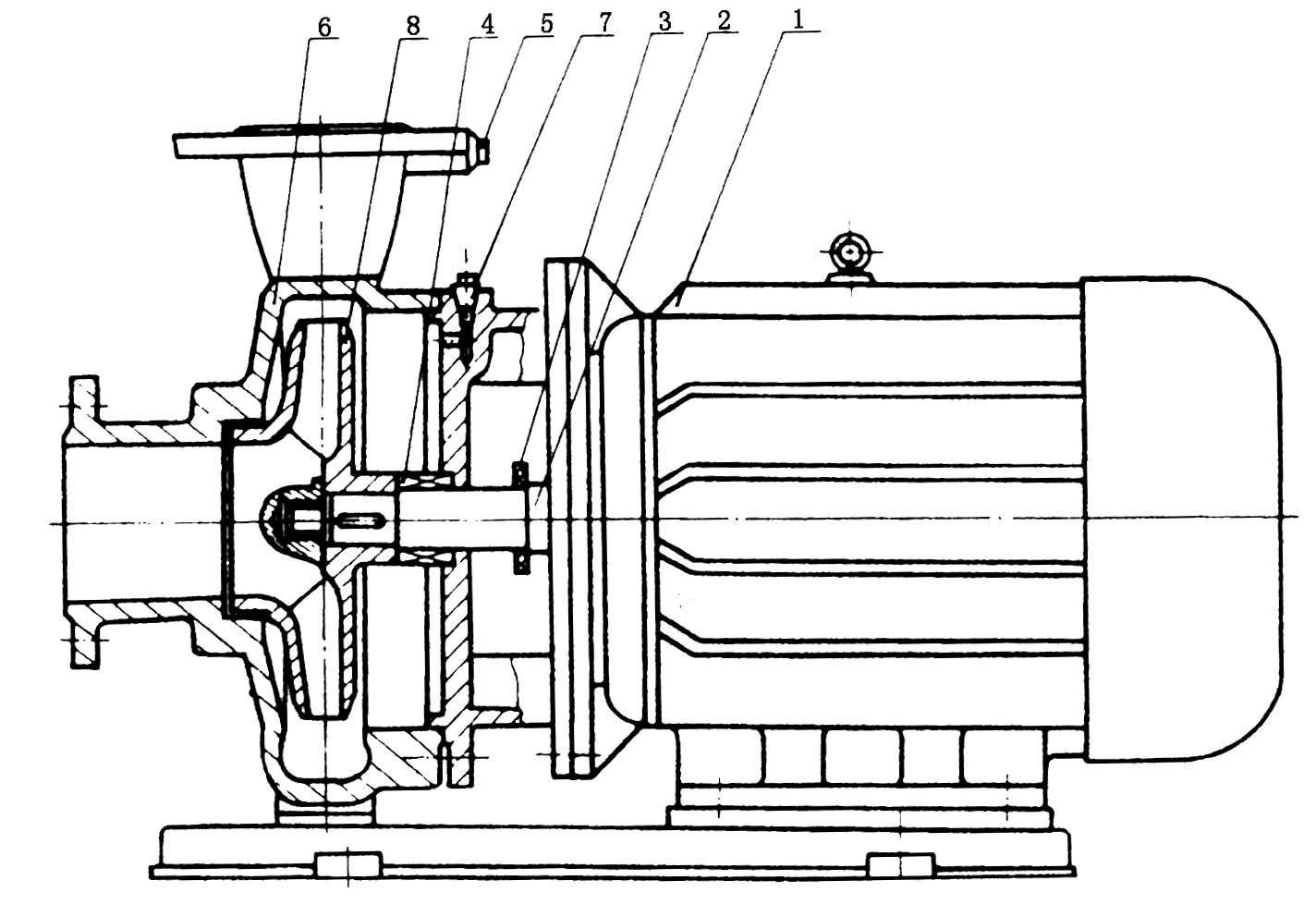 isw型卧式管道离心泵结构图