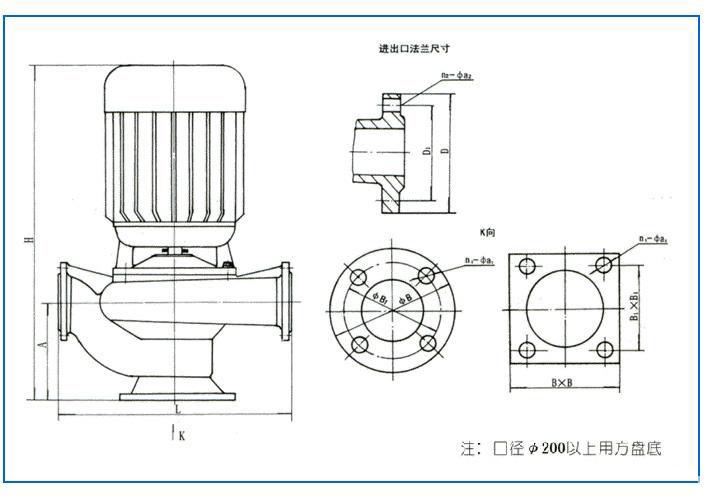 gw型管道式无堵塞排污泵 (结构图)